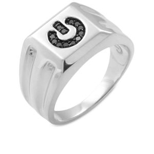 Mens Power Ring Black Diamonds Sterling Silver