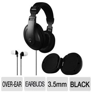 3 In One Headphone Earbud Speaker Combo - Black