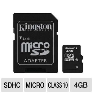 Kingston 4GB Class 10 microSDHC Card w/ Adapter