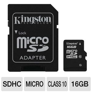 Kingston 16GB Class 10 microSDHC Card w/ Adapter
