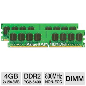 Kingston 4GB (2x 2GB) 800MHz Desktop Memory Kit