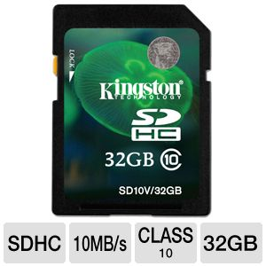 Kingston 32GB SDHC Flash Memory Card
