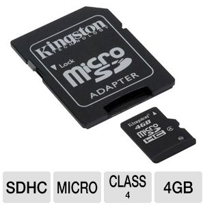Kingston 4GB MicroSDHC Card with SD Adapter