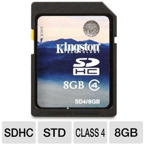 Kingston 8GB SDHC Class 4 Flash Card