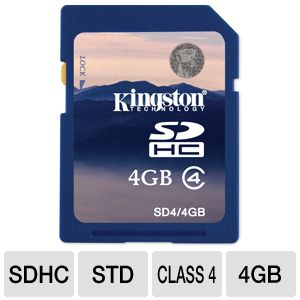 Kingston 4GB SDHC Flash Memory Card