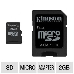 Kingston 2GB microSD Card with SD Adapter