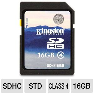 Kingston 16GB Class 4 SDHC Flash Card
