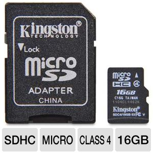 Kingston 16GB microSDHC Flash Card