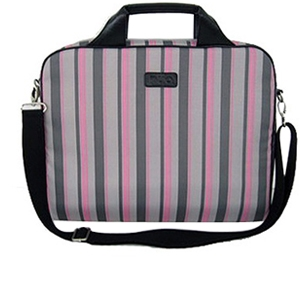"Nuo 16"" Gray-Pink Pinstripe Laptop Sleeve"