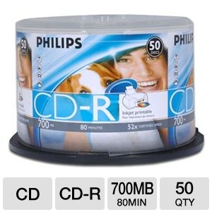 PHILIPS 50PK Printable 52X CDR