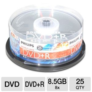 Philips DR8S8B25F/17 25 Pack 8X DVD+R DL Spindle