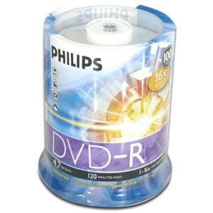 Philips 100pk 16x 4.7GB DVD-R in Spindle