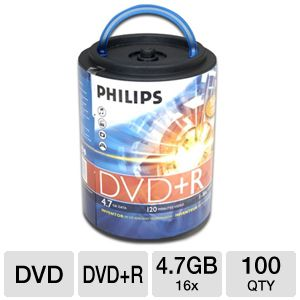 Philips DR4S6H00F/17 100 Pack 16X DVD+R Spindle