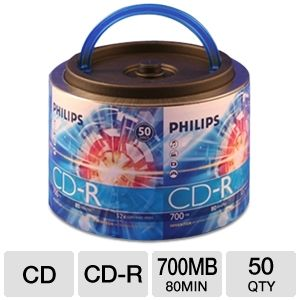 Philips 50 Pack 52X CDR Spindle with Handle