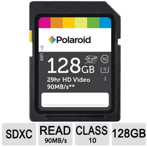 Polaroid 128GB SDXC Flash Memory Card
