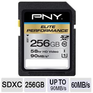 PNY 256GB SDXC UHS-1 up to 90MB/s Flash Memory
