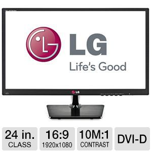 "LG 24"" Wide 1080p Slim LED Monitor, VGA, DVI"