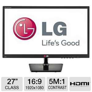 "LG 27"" 1080p Slim IPS LED Monitor, VGA, DVI, HDMI"