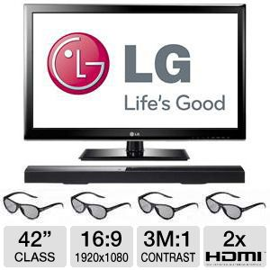 "LG 42LM3700 42"" 1080p 60Hz LED 3D TV w/ Soundbar"