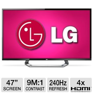 LG 47LM7600 47 inch 1080p 240Hz 3D Cinema LED LCD HDTV with 9,000,000:1 Dynamic Contrast Ratio, Built-in Wi-Fi, Smart Tv + (6) Six 3D Glasses
