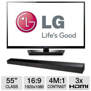 "LG 55LM4700  55"" 1080p 120Hz LED 3D TV w/ Soundbar"