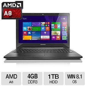 "Lenovo 4GB DDR3L, Quad-Core A8, 1TB HDD, 15.6"" Laptop"