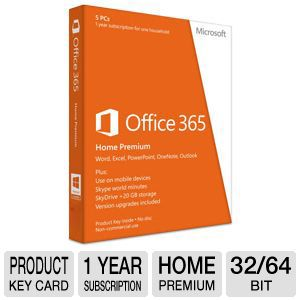 Microsoft Office 365 Home Premium 1Yr Subscription