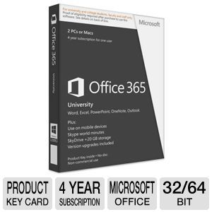 Microsoft Office 365 University Product Key Card - 4 Year Subscription, 32/64-Bit  - R4T-00042