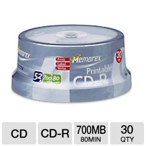 Memorex 30-Pack 52X 700MB Printable CD-R Discs