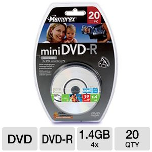 Memorex 4x Mini DVD-R 20 Pack