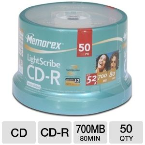 Memorex 04550 50 Pack 52X Lightscribe CD-R Spindle
