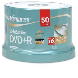 Memorex 05431 50 Pack 16X Lightscribe DVD+R