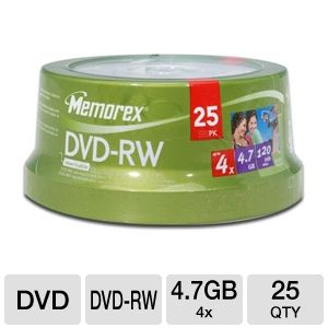 Memorex 4.7GB 25-Pack 4X DVD-RW, Spindle