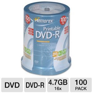 Memorex 05642 100 Pack 16X Printable DVD-R Spindle