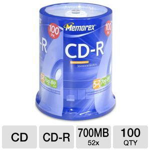 Memorex 04581 100 Pack 52X CD-R Spindle