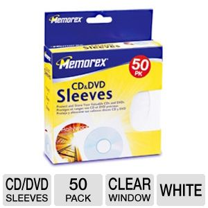 Memorex 01960 50 Pack Paper CD/DVD Sleeves