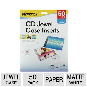 Memorex 32020700 50 Pack Jewel Case Inserts