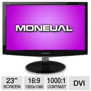 "Moneual 23"" Wide 1080p LED, Speakers, VGA, DVI"