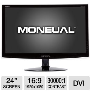 "Moneual 24"" Wide 1080p LED, Speakers, VGA, DVI"