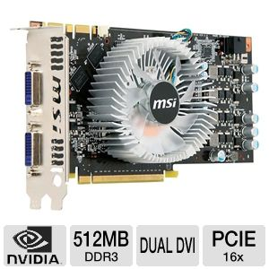 MSI GeForce GTS 250 512MB DDR3 Dual DVI, SLI Ready