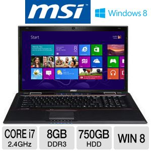 MSI GE70 17.3&quot; Core i7 750GB HDD Laptop