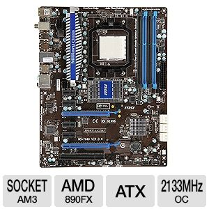 MSI 890FXA-GD65 AMD 890FX Socket AM3 Motherboard