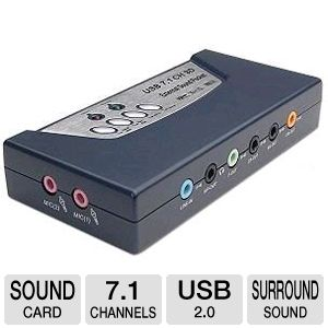 8-Channel 3D, USB 2.0, 7.1 Surround Sound Card