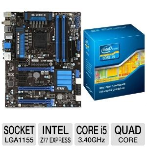 MSI Z77A-GD65 Intel 7 Series Z77 Motherboar Bundle