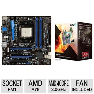MSI A75MA-G55 AMD A Series Socket FM1 Mothe Bundle