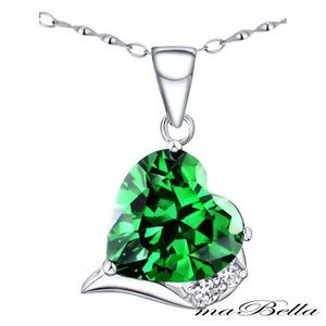 Mabella Heart Cut Emerald Pendant withNecklace