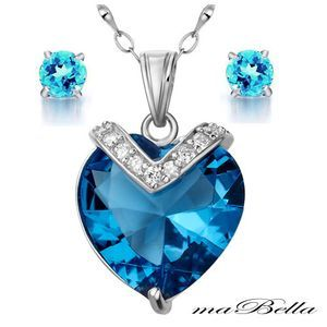 Mabella Blue Topaz Heart Cut Pendant & Earrings