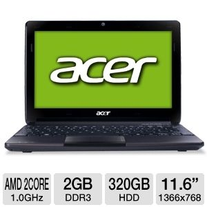 "Acer 11.6"" AMD Dual-Core 320GB Netbook"