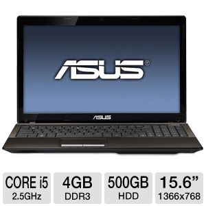 "ASUS K53E 15.6"" Core i5 500GB HDD Laptop"