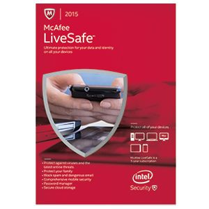 McAfee 2015 LiveSafe Antivirus - 1 User Unlimited Devices 1year License MLS15ETD1RAA